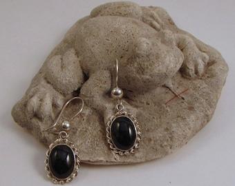Guatemalan Black Jade Earrings with Twisted-Edge Silver Setting