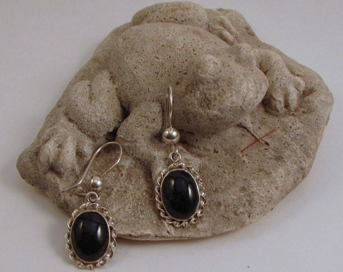 Guatemalan Black Jade Earrings with Twisted-Edge Silver Setting