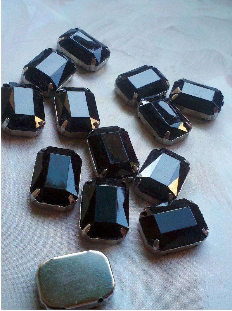 12 Pieces of 13 x 18 mm Black Color  Acrylic Octagon image 0