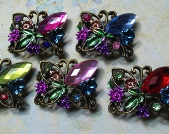 Butterfly Metal Beads . 5 Pieces Sample Set .Jewelry Supply ,Buckles.-