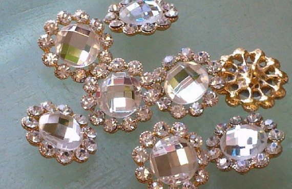 Gold Metal Clear Glass Rhinestone Buttons 23 mm Bridal Embellishment 10 Pieces