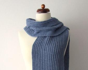 long knit scarf, blue scarf, fringe scarf, mens scarf, womens scarf, cozy winter scarf, scarf with fringe