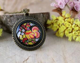 Russian Rooster Pendant in Antique Bronze | Khokhloma | Russian Folk Art Amulet | Antique Bronze Necklace | Handmade Jewelry | Nature Design