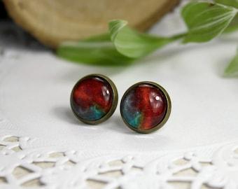 Orange Nebula Stud Earrings | Galaxy Earrings | Stud Earrings | Space Earrings | Galaxy Jewelry | Astronomy Gift