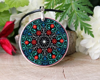 Abstract Floral Pattern Pendant | Kaleidoscope Necklace | Polymer Clay Pendant | Mandala Pattern Jewelry |