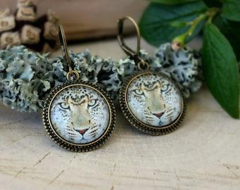 Leopard Earrings, Antique Bronze Earrings, Glass Dome Earrings, Dangle Earrings, Animal Jewelry