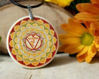 Manipura Polymer Clay Pendant | Chakra Pendant | Solar Plexus Pendant | Chakra Jewelry | Spiritual Jewelry | Customized Jewelry |