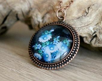 Blue Floral Pendant in Antique Copper | Russian Folk Art Necklace | Zhostovo Jewelry | Antique Copper Pendant | Floral Jewelry | Handmade