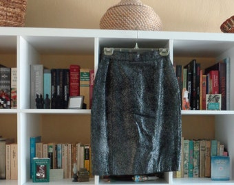 VINTAGE 1980's Silvery Black Leather Skirt by Jacqueline Ferral - available