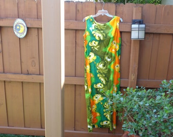 VINTAGE 1960's Hawaiian Floral Print Floor Length Dress by  Ui-Maikai Hawaii - available