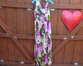 VINTAGE 1960 39 s Floor Length Purple and Green Floral Hawaiian Print Dress by Sun Fashions of Honolulu Hawaii - available