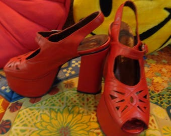 fd04a845420b VINTAGE 1970 s Red Leather Platform Peep Toe Heels from Spain - (available)