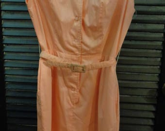 6afd9d7f12e VINTAGE 1960 s Peach Sleeveless Belted Cotton Shift Dress by Saks Fifth  Avenue (available)