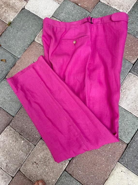 Ralph Lauren Polo 1980's Raspberry Linen Trousers - image 2