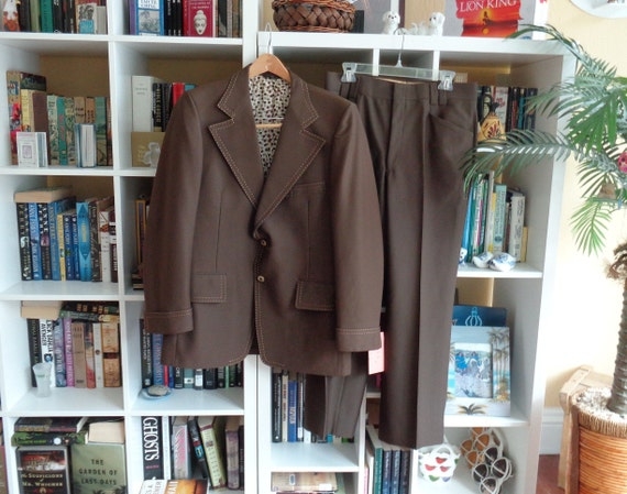 VINTAGE Men's 1970's Brown Polyester Suit by Winte