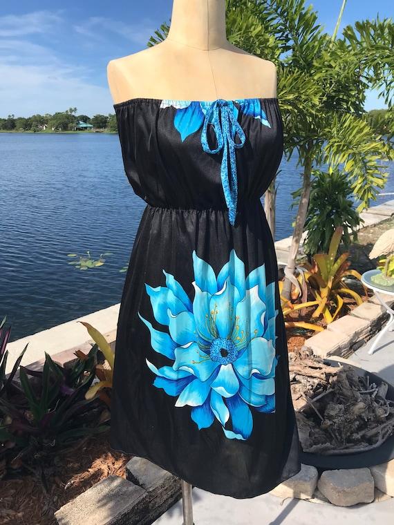 1980s Strapless Beach Dress
