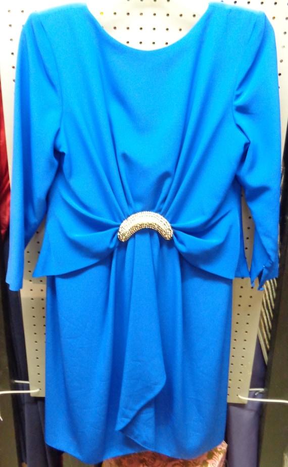Estevez 1980's Dress Ladies Royal Blue Polyester