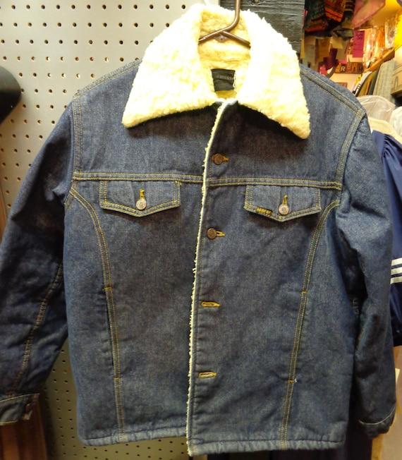 Sears Roebuck 1970's Men's Blue Fleese Lined Denim
