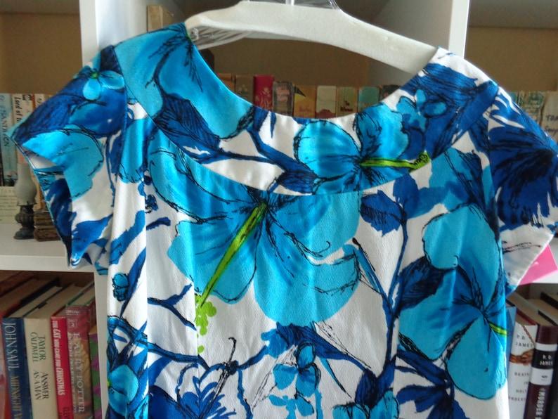 Royal Hawaiian 1960/'s Blue Hawaiian Print Barkcloth Maxi Dress