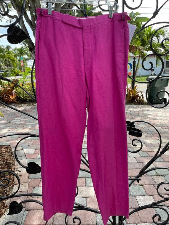 Ralph Lauren Polo 1980's Raspberry Linen Trousers - image 6