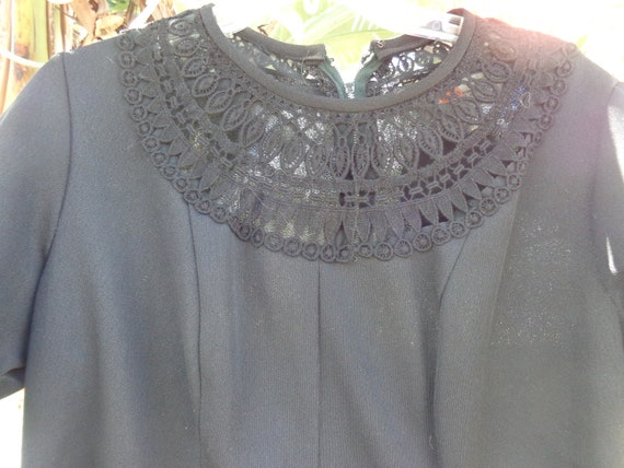 1970's Black Double Knit Polyester Dress
