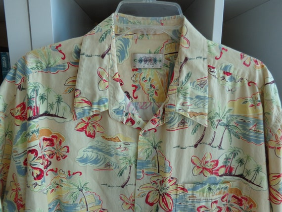 Campia Moda 1980's Unisex Pale Yellow Hawaiian Flo