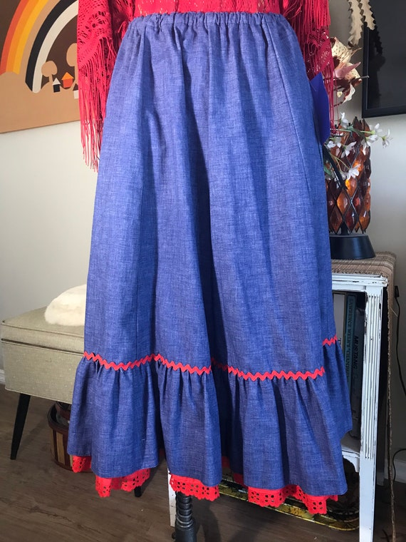 1980s Chambray Western Skirt - image 3