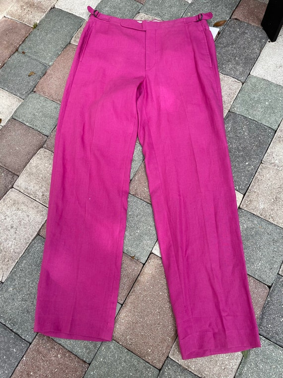 Ralph Lauren Polo 1980's Raspberry Linen Trousers - image 5