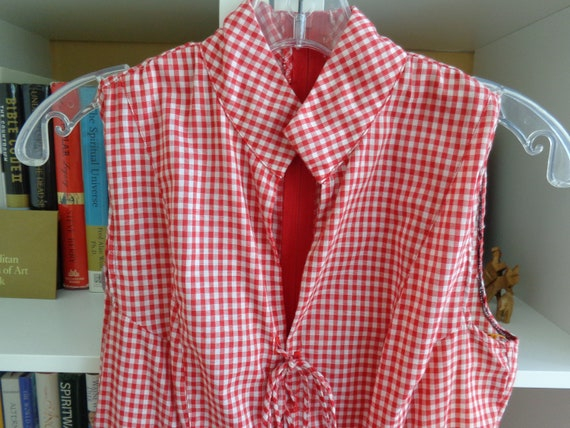 Popi 1980's Dress Red Gingham Check Flared  (Small