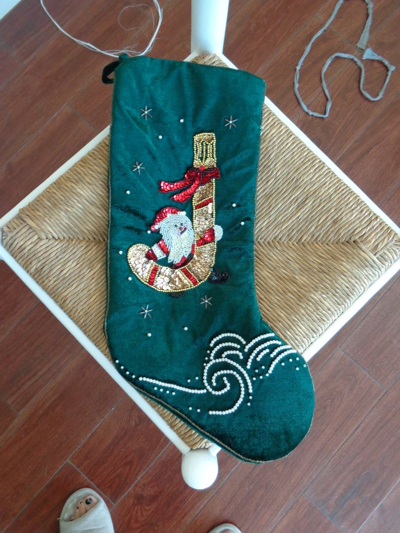 VINTAGE Green Satiny Sequined Christmas Stocking available