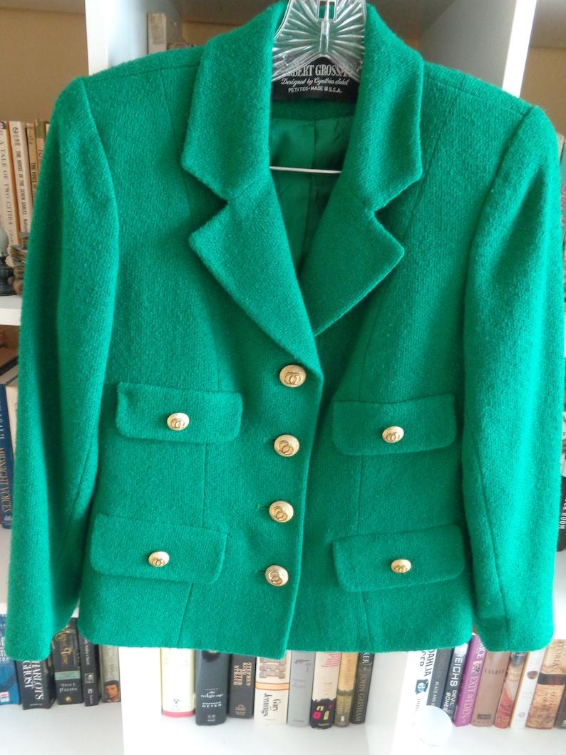 available VINTAGE 1980/'s Classic Petite 2 Piece Green Power Suit by Herbert Grossman