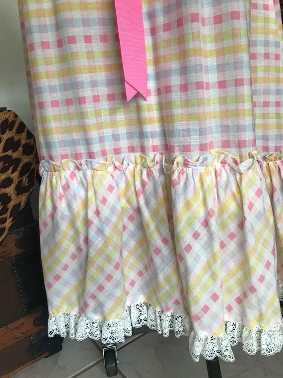 1970s Pastel Gingham Maxi Dress - image 3