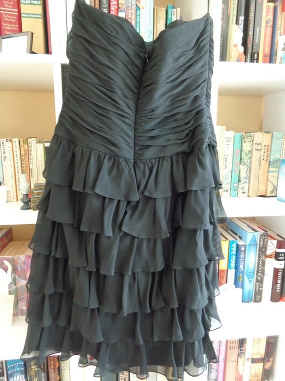 Kay Unger New York 1980's Dress Strapless Ruffled… - image 6