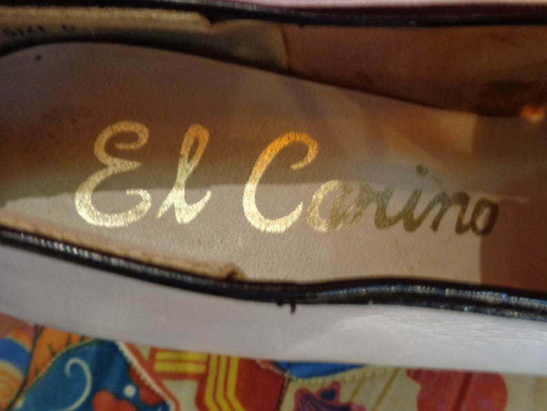 available VINTAGE 1970/'s Ladies White Leather with Black Trim Platform Shoes by El Carino