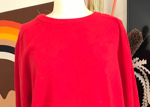 Snow Lotus 1960s Cashmere Red Pullover Sweater men