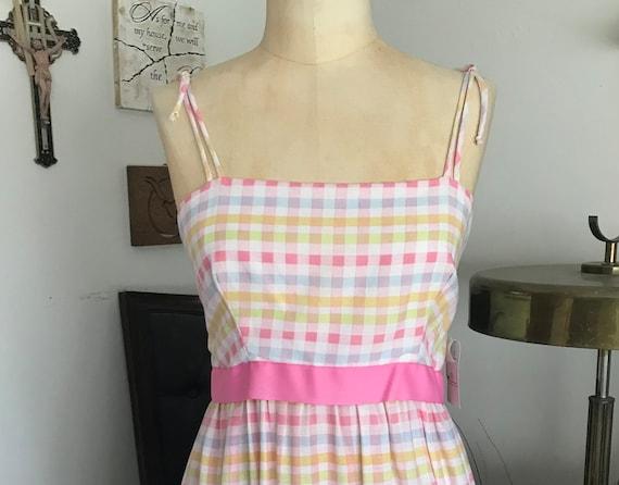 1970s Pastel Gingham Maxi Dress - image 1