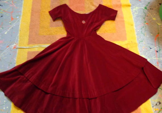 Anne Fogarty 1950s VINTAGE Deep Red Velvet Dress