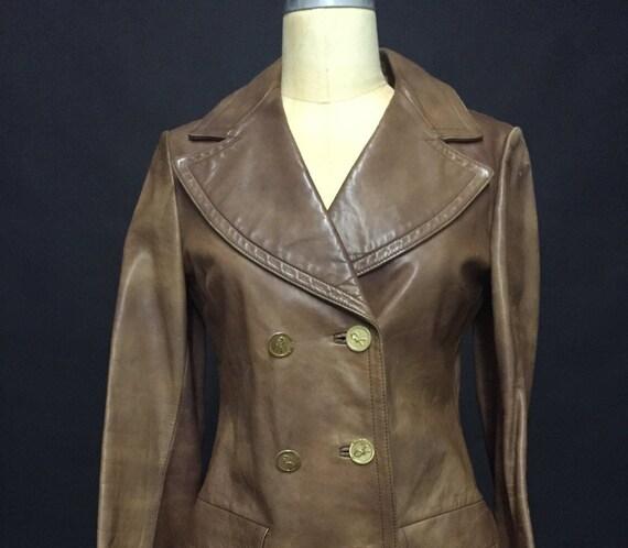1970s Jacket Ladies Brown Leather - image 1
