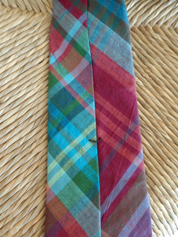 Ralph Lauren 1980s Madras Plaid Necktie - image 4