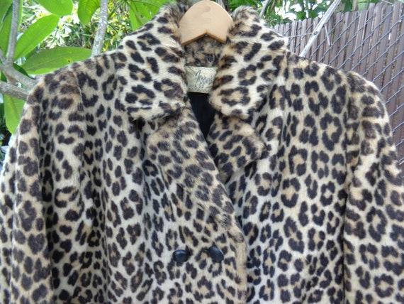 Jepper's 1960's Faux Leopard Fur Knee Length Coat