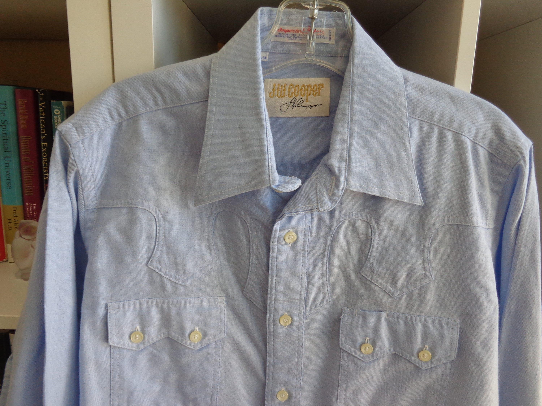 80s Tops, Shirts, T-shirts, Blouse   90s T-shirts Jw Cooper 1980s Western Shirt Light Blue Pinpoint Cotton  Large $39.00 AT vintagedancer.com