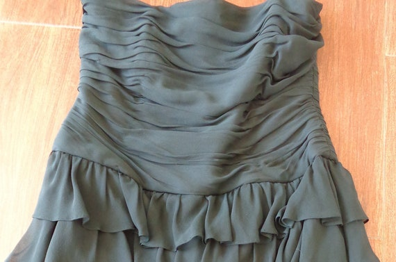 Kay Unger New York 1980's Dress Strapless Ruffled… - image 3