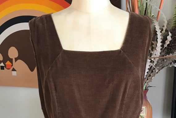 1950s Brown Corduroy Jumper Dress