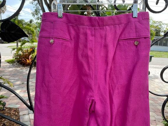 Ralph Lauren Polo 1980's Raspberry Linen Trousers - image 4