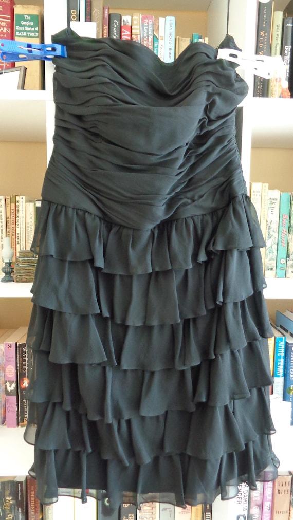 Kay Unger New York 1980's Dress Strapless Ruffled… - image 2