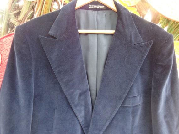 LTD Clothes 1970's Navy Velvet Men's Sports Jacket