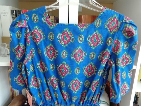 1980's Cotton Dress Royal Blue Paisley