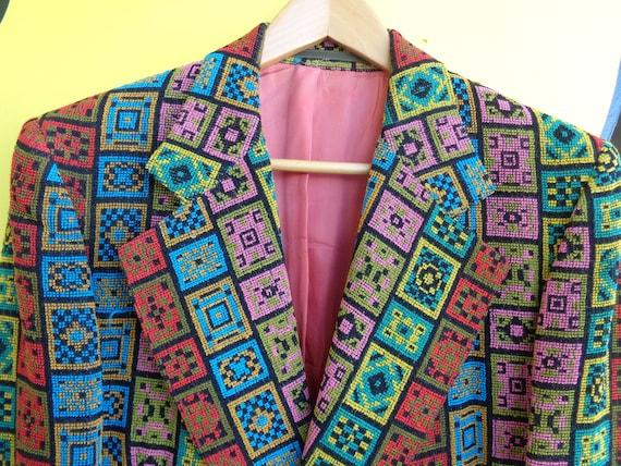 CHENILLE 1970's Men's Multicolor Sport Jacket Amaz