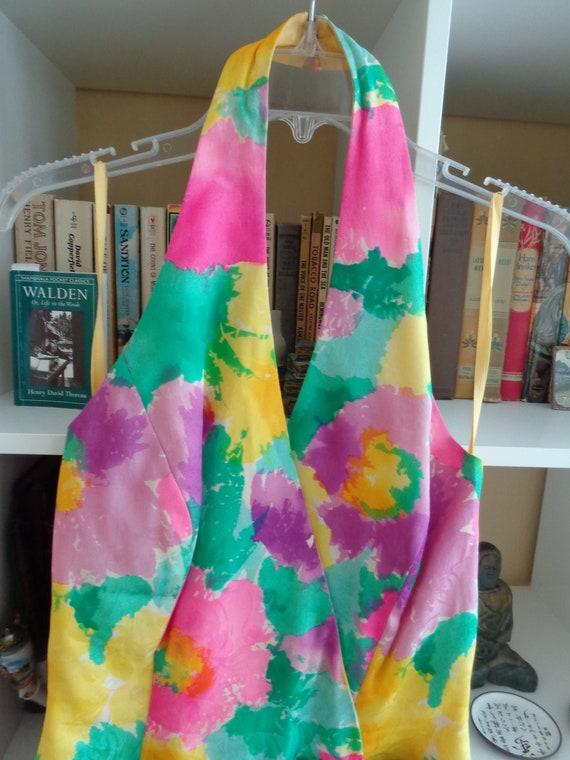 Cache  1980's Dress Jeweltone Impressionistic Prin