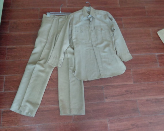 VINTAGE Men's Authentic WWII US Army Khaki Gabardi